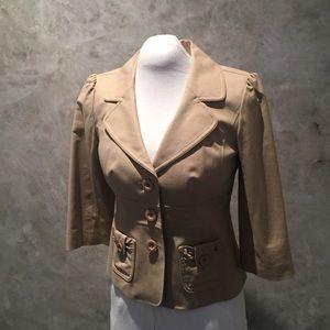 Khaki Safari-style Jacket w/ 3/4 sleeves